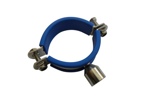 Picture of 204mm Stainless Pipeclip c/w Blue Inset M10 Bossed
