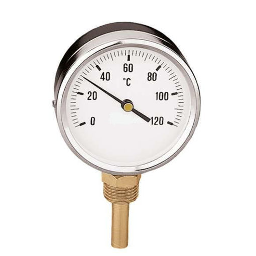 """Picture of 4""""Dial 0+120C&F 63mm Bottom Entry Pocket Thermometer c/w PJM Logo"""
