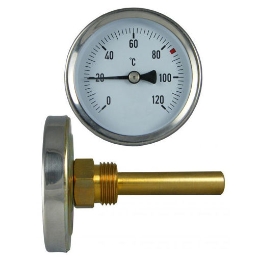 """Picture of 50mm"""" x 1/2"""" Brass Thermometer Pocket c/w Grubscrew"""
