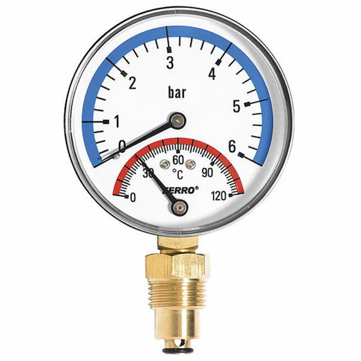 """Picture of 3"""" Dial 0-6 Bar & 120 C  Combined Pressure & Temp Gauge, Bottom Entry, Chrome Bezel."""