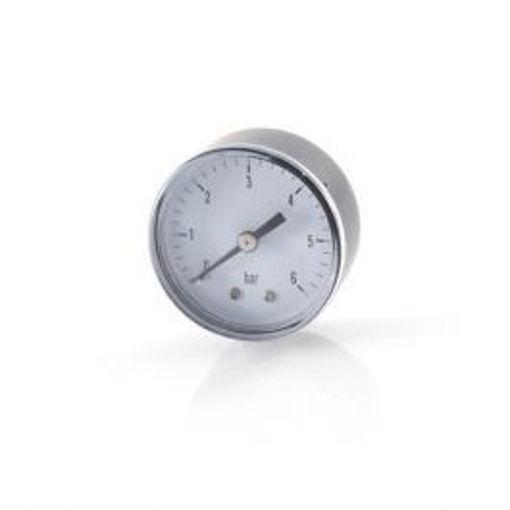"Picture of 4""Dial 3/8"" BSP Blk&Chrome Pressure Gauge 0-6 Bar c/w PJM Logo"