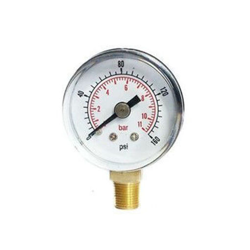 """Picture of 4""""Dial 3/8"""" BSP Blk&Chrome Pressure Gauge 0-11 Bar  With Calibration Cert"""
