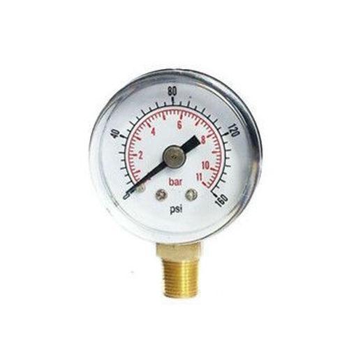 "Picture of 4""Dial 3/8"" BSP Blk&Chrome Pressure Gauge 0-11 Bar c/w G&H Logo"