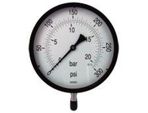 "Picture of 4""Dial 3/8"" BSP Blk&Chrome Pressure Gauge 0-21 Bar"